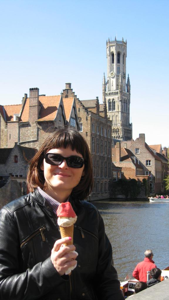 the Belfry tower in the back; the ice-cream which fell just moments after this shot was taken