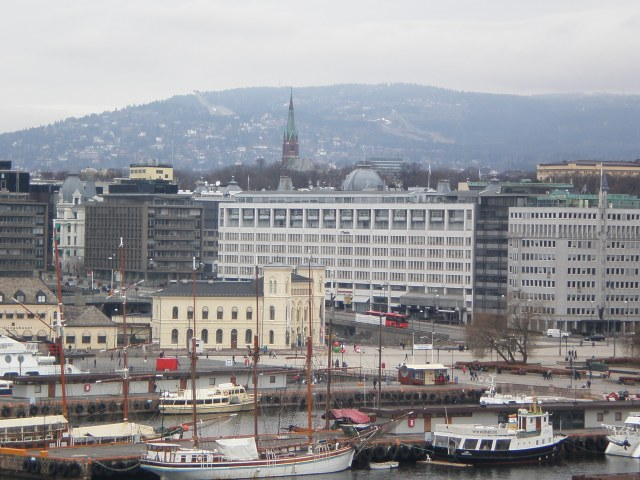 the Nobel center upfront and the ski jump thing in the background