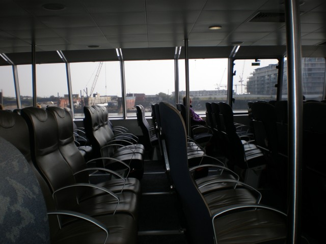 inside the Thames Clippers boat