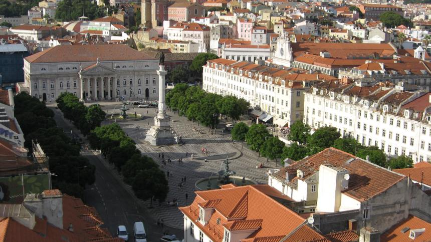 Rossio square as seen from the viewing platform of Elevador