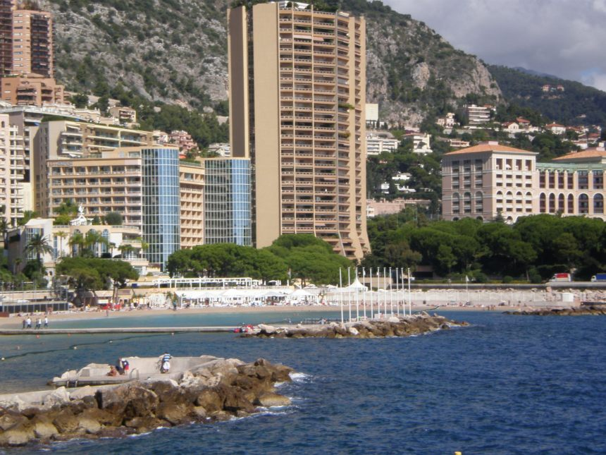 Monaco beach in Larvotto