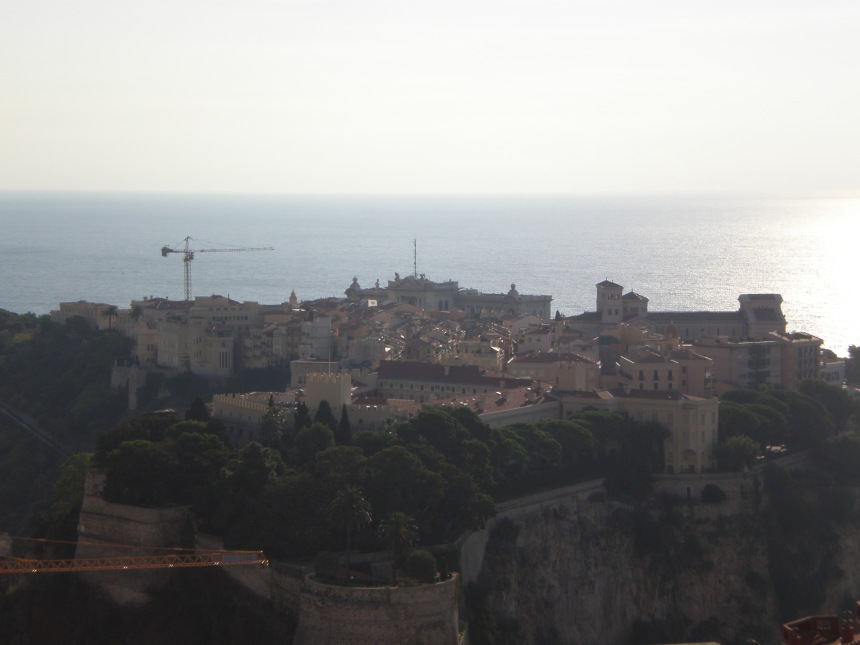 the view of the oldest part of the country Monaco-Ville on the rock (if you're coming from France)