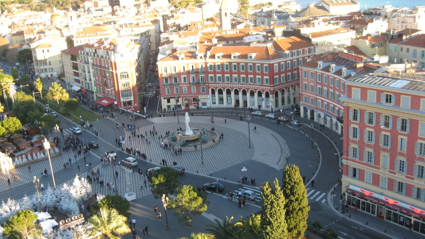 the view from the Ferris Wheel of the main square