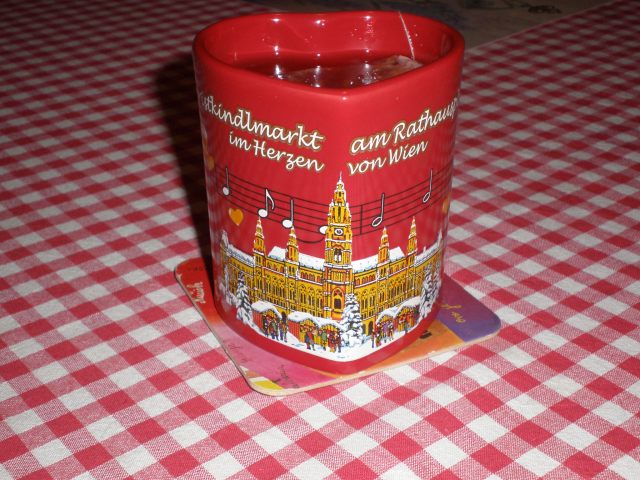 mug from last year's Christmas market in Vienna, Austria