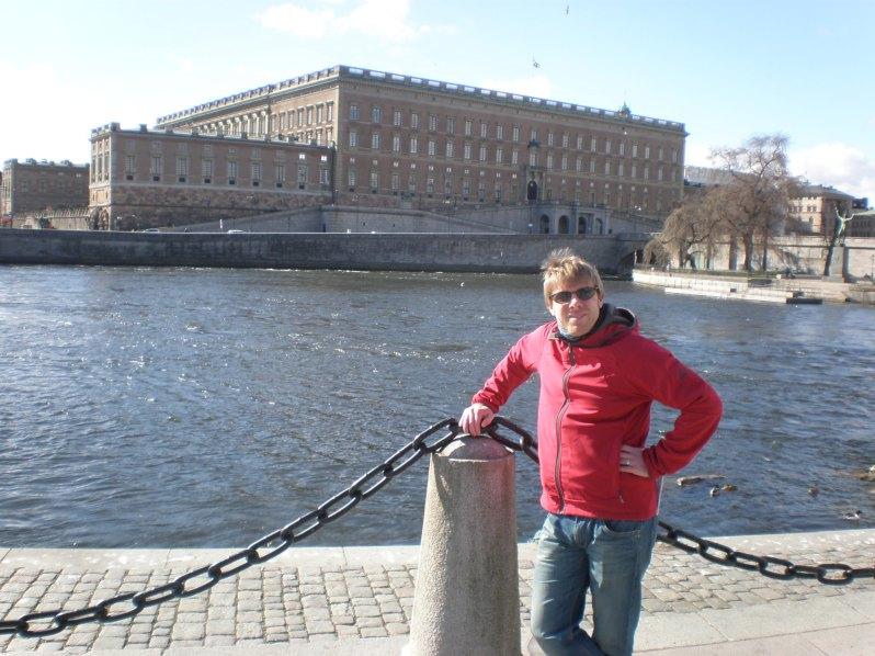 the Royal Palace behind my husband