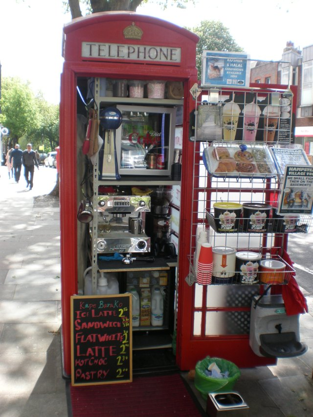 red phone box as a bar in London