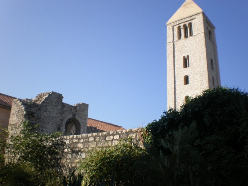 Bell tower and the ruins of church of St. John the Evangelist