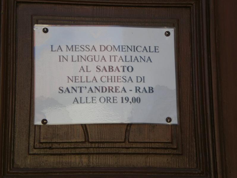 church mess in Italian on Saturdays
