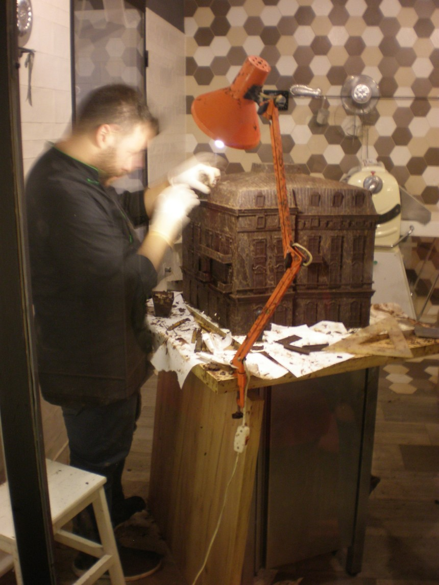 in Milenij Choco World Shop a chocolate building was being made