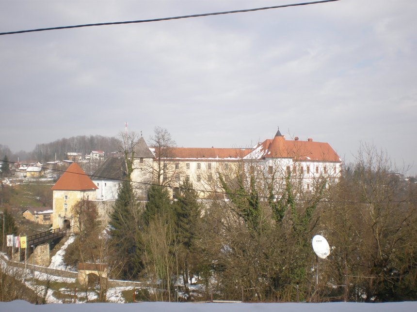 the view of Ozalj castle from the hill across