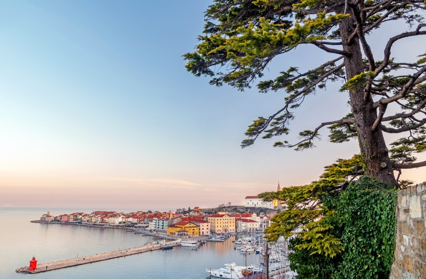 Panoramic view of old coastal town Piran, Slovenia
