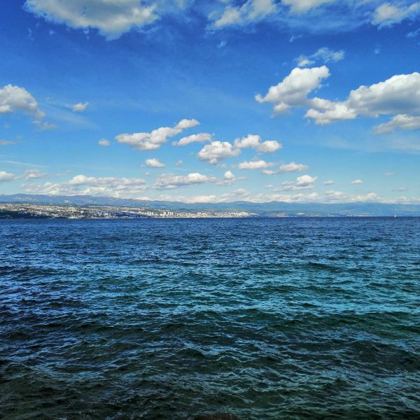 View of Rijeka from the Opatija bay, Croatia